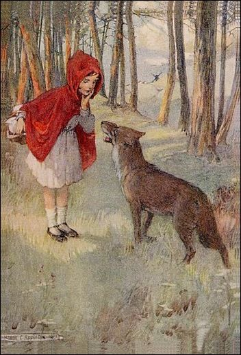 A little girl is walking in the woods to her grandmother's house. A wolf stops her and asks her where she is going. She tells the wolf where. The wolf races there and eats the grandmother. The wolf dresses up as the grandmother to try to fool the little girl to eat her too.