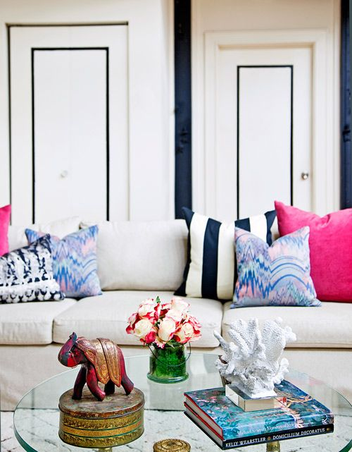 pink/navy comboDecor, The Doors, Living Rooms, Interiors, Colors, Livingroom, Black White, Design, Pillows