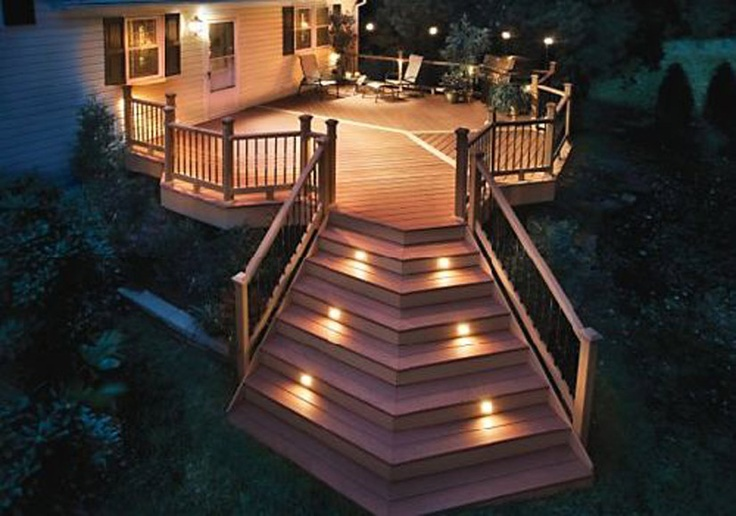 Large deck with lighting.