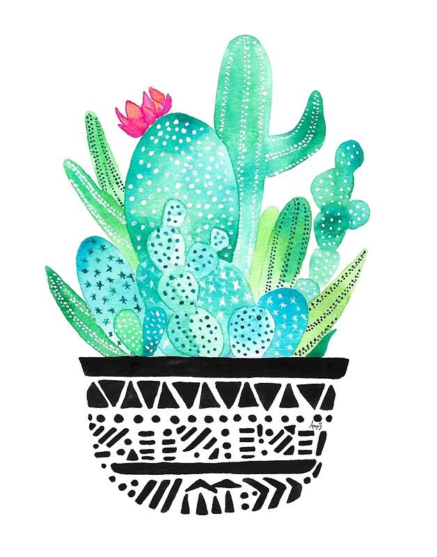 Pot Me A Cacti! by @redbubble Watercolor Cacti print #watercolor #cactus #cacti #plants #botanical #floral #artist #dessertart #desert #chic #trends #wallart #artprint #decor #minimal