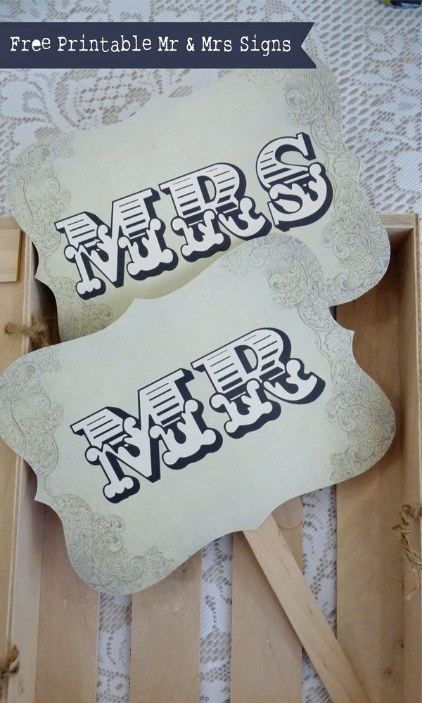 free printable mr and mrs signs