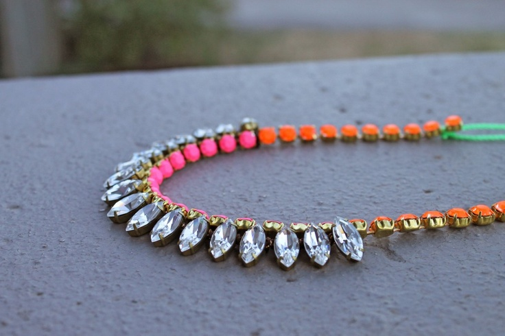 """Neon Navette Necklace 