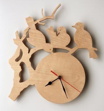 Green Elephant Collective cuckoo birdie clock birch