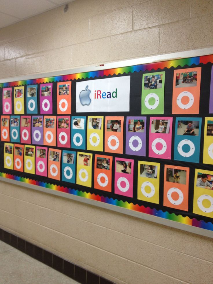 Cute bulletin board - iRead. I think I want to make 2 or 3 and pick kids to go on it each week with book recomendations