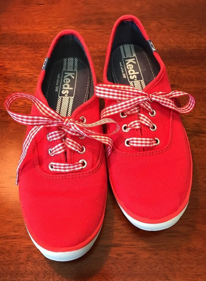 Womens KEDS casual comfort shoes size US 6.5 M red canvas sneakers Ladies shoes #Keds #Comfort