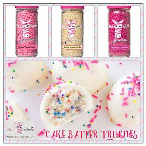 Pink Zebra Cake Batter Truffles recipe is made using Gimme Some Sugar, Buttercream Cupcake and Raspberry Lemonade sprinkles. Go to www.pinkzebrahome.com/mrasley to order.