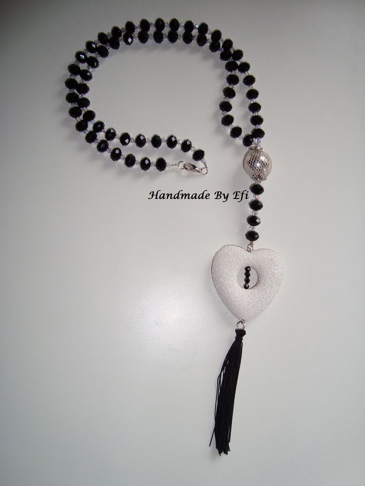 Long necklace in black type rosary with heart of lava  https://www.facebook.com/pages/Handmade-Creations-by-Efi/187659788043676