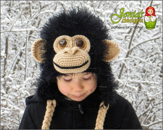 CROCHET PATTERN Crochet Chimpanzee Hat by JENIASdesigns on Etsy