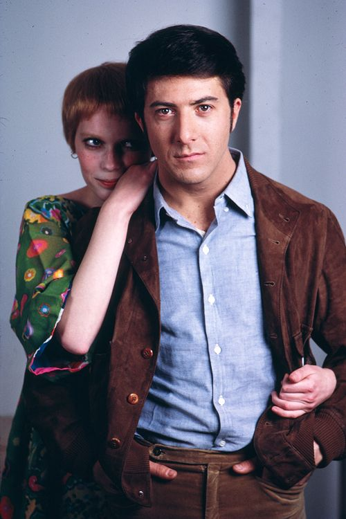 Dustin Hoffman & Mia Farrow, photographed by Terry O'Neill, 1969.