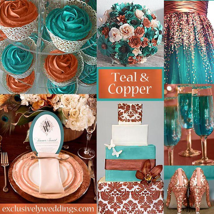 Teal and Copper Wedding Colors   #exclusivelyweddings get the perfect table dressings to match your custom color wedding tableskirtsandmore.com