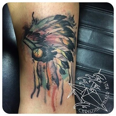 Water color headdress tattoo