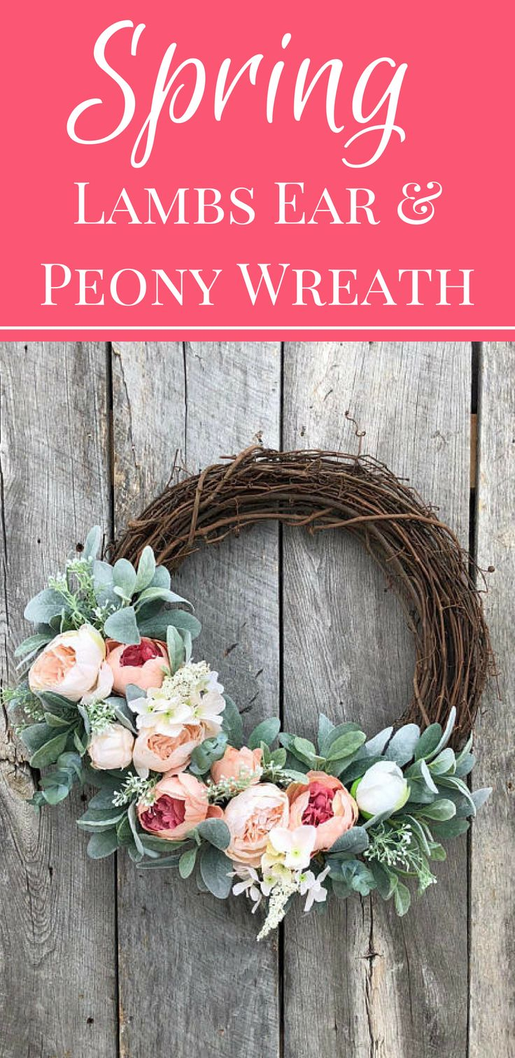 This elegant partial floral Spring front door wreath is trimmed with lush light pink silk peony blooms, white floral sprays and finished off with soft lambs ear leaves. This romantic Spring wreath is the perfect blend of style that will add a breath of fresh air to your front door, entryway, mantel or walls for many seasons to come!  #ad #frontdoor #springdecor #springwreath #Easterdecor #Easter #mothersday #mothersdaygift