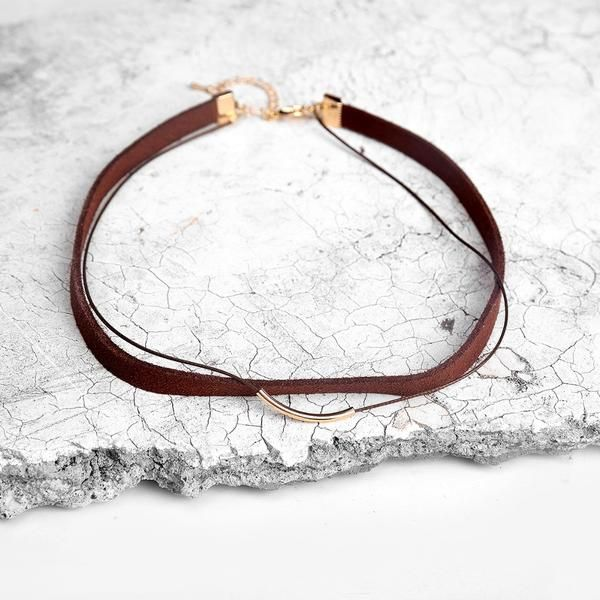Stormy Choker, choker - Golden Spiral | Gold plated choker | Leather | Suede | Cloth Fabric | Black | Brown | Golden Chain | Style: Boho chic | Bohemian | Gypsy | Hippie | Festival | Nomad | Minimalistic |