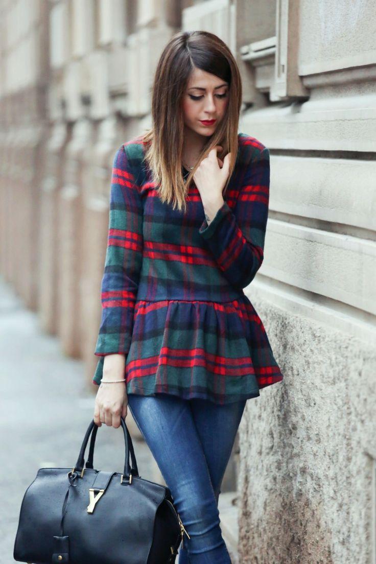 #fashion #fashionista @Nicoletta Porcu Porcu Porcu Porcu Scent of Obsession PEPLUM TOP SCOZZESE URBAN CHIC OUTFIT 2014