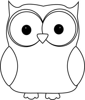 Black and White Owl Clip Art Image - white owl with a black outline ...