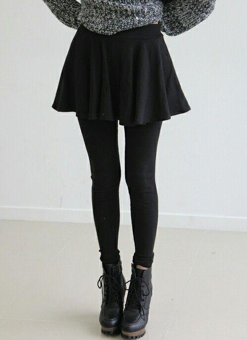 Boots, skirt, sweater
