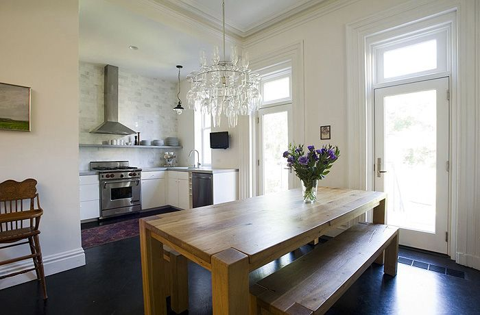 bliss blog - brownstone designed by elizabeth roberts: Interiors Inspiration, Dreams Kitchens, Big Sur, Elizabeth Robert, Wood Tables, Kitchens Layout, Open Kitchens, Farms Tables, Dining Tables