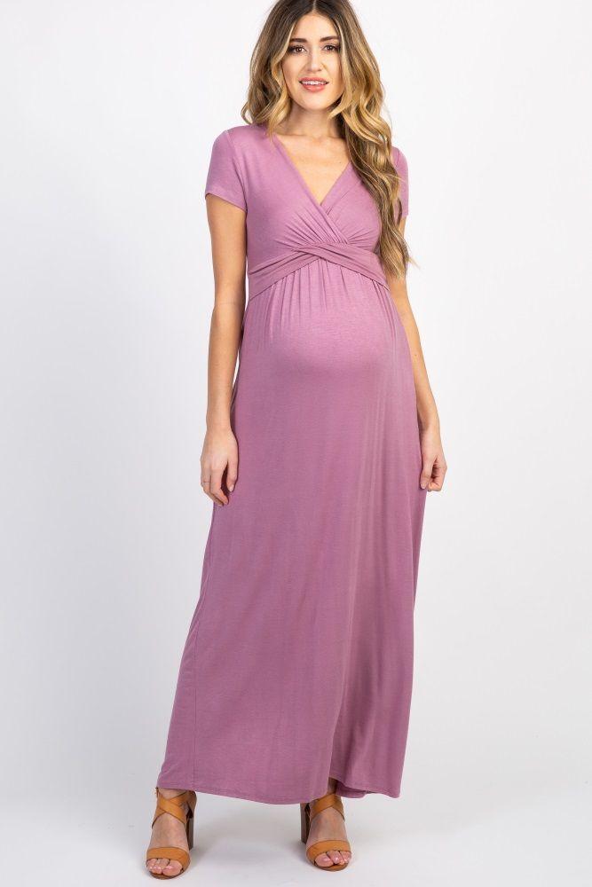 fc7906af31237 Mauve Draped Maternity/Nursing Maxi Dress in 2019 | Baby Shower ...