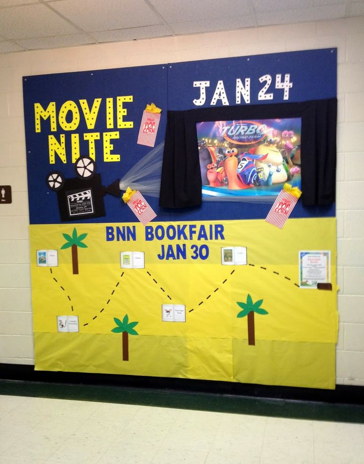 Hamburke's Bows: Bulletin Board Ideas - Movie Night PTA bulletin board movie night how to