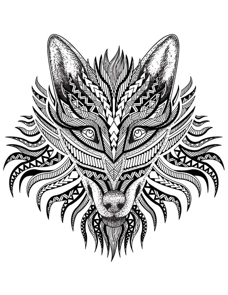 123 best coloriage d 39 animaux animal adult coloring page images on pinterest coloring books - Coloriage loup ...