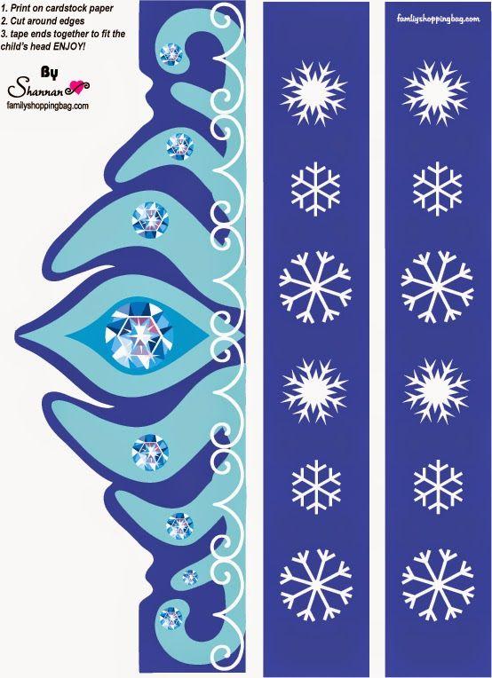 Frozen: Corona de Elsa para Imprimir Gratis. | Ideas y material gratis para fiestas y celebraciones Oh My Fiesta!