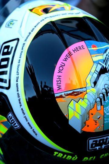 PIC: Rossi's 'Wish you were here' Simoncelli helmet | MotoGP News | Sep 2013 | Crash.Net
