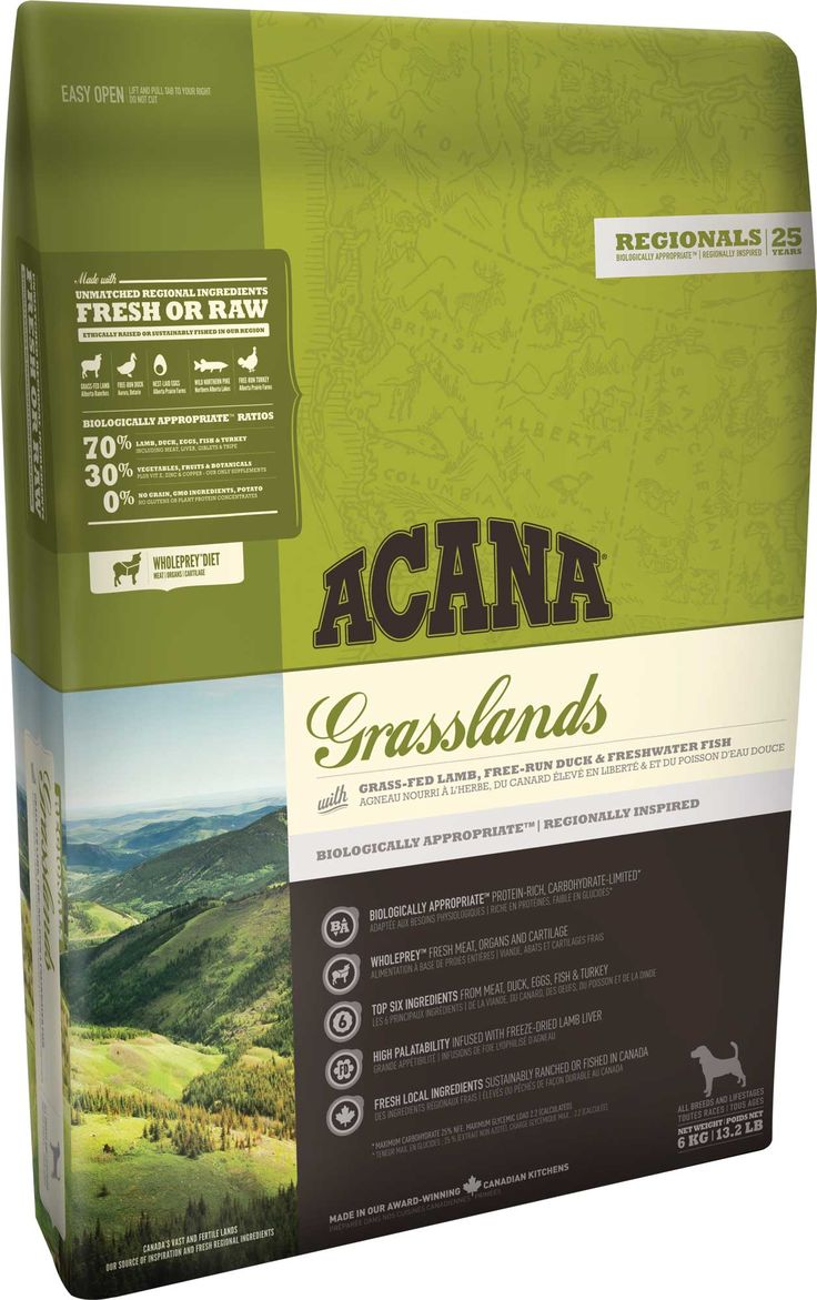 Корм для собак Акана Грасслэндс беззерновой с ягненком, пак. 13 кг