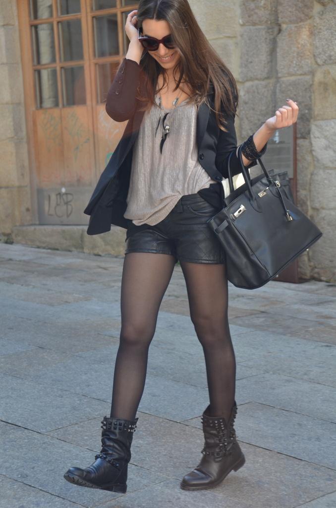 Hot legs in black nylon pantyhose