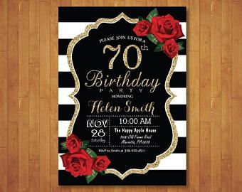 70th Birthday Invitation For Women Red Roses Black And White