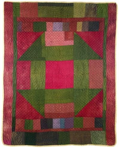 Monkey Wrench Medallion Quilt, ca. 1900, Ilinois Amish. Illinois State Museum collection.
