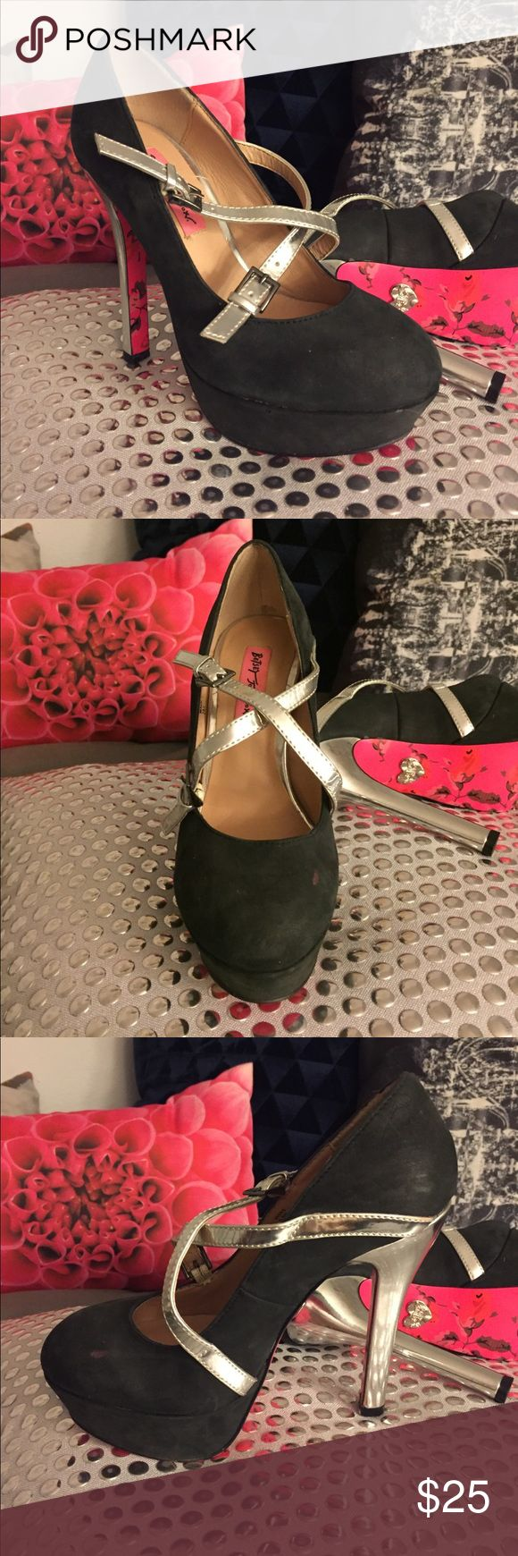 Betsey Johnson Black Mary Jane Heel Black leather Mary Jane heel. Black and silver detail. Cute pink pattern bottom. Worn. Size 5.5 fits true to size. Betsey Johnson Shoes Heels