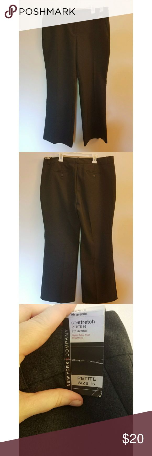 """NWT New York and Company Charcoal Grey Dress Pants Re-Posh. NWT 16P charcoal grey dress pants. The pants fit more like a 14P, and were a tad too short for me. I'm 5'4 1/2"""", so petite size pants can be a gamble for me. New York & Company Pants Boot Cut & Flare"""