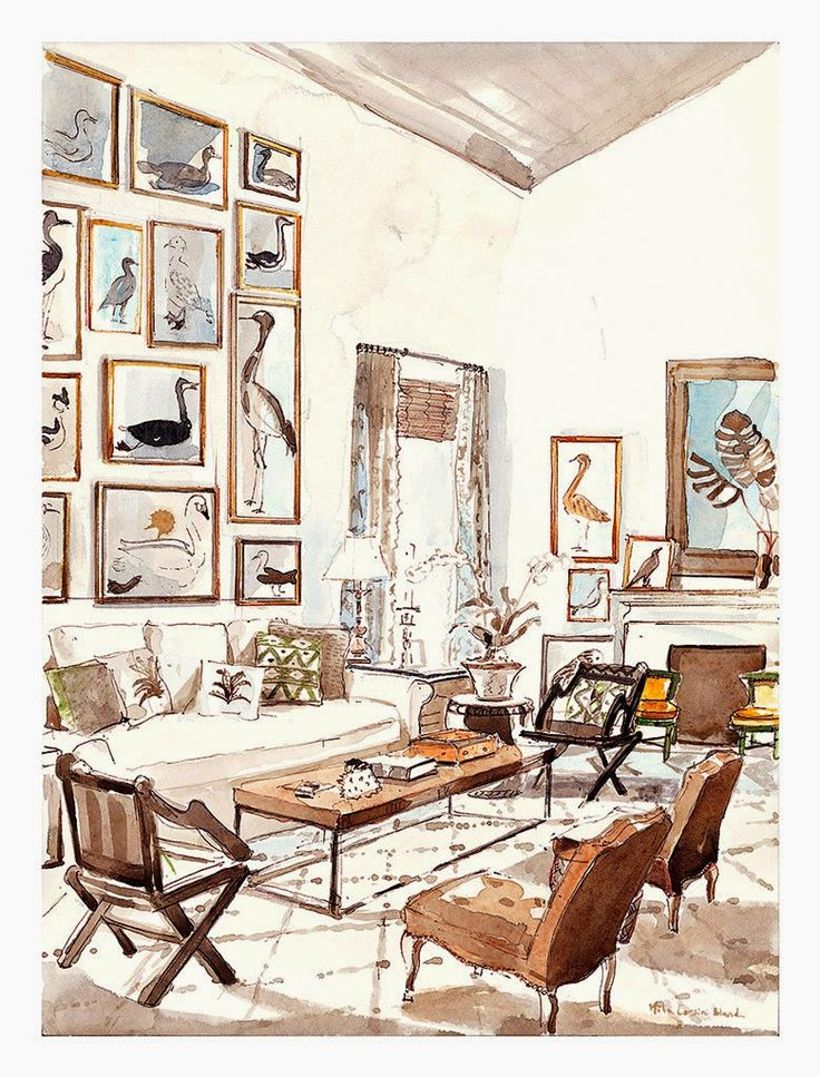 Mita Corsini Bland Painted This Watercolor Interior Illustration Of His Flawlessly Designed Room