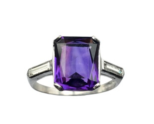 1930s Art Deco Amethyst and Diamond Ring, Platinum