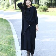 Черный с длинным рукавом белье хлопок женщины длинное платье дизайн новинки Большой размер осень зима платье мори девушка веревка платье платья 3004(China (Mainland))