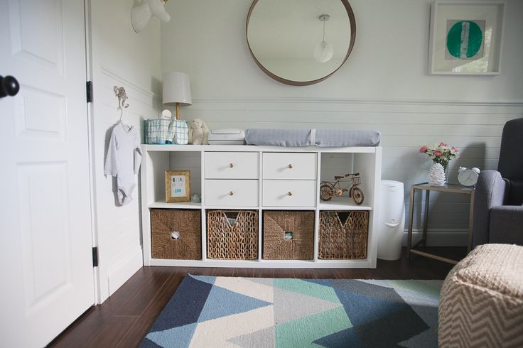 @IKEAUSA's Kallax bookcase as a changing table - great piece in this gender neutral modern nursery!