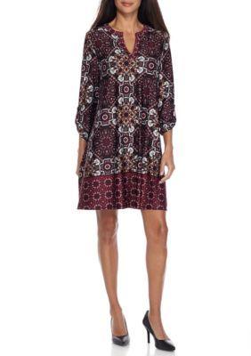 New Directions Women's Petite Size Printed Knit Border Dress - Sangria Black - Pm