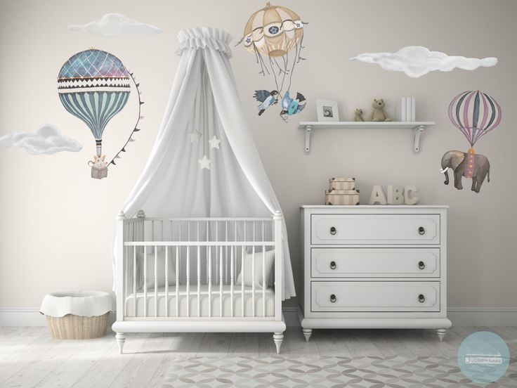NEW! XL Girl Set of 6, Hot Air Balloon Animals & Clouds, nursery, baby, hand painted look, Repositionable fabric Wall decals, by JudsonLane on Etsy https://www.etsy.com/listing/286251069/new-xl-girl-set-of-6-hot-air-balloon