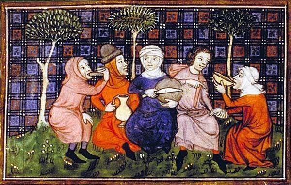Folks+sharing+a+simple+meal+of+bread+and+drink;+Livre+du+roi+Modus+et+de+la+reine+Ratio,+14th+century.