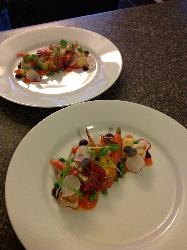 Seared swordfish, gnocchi, beet purée, carrot purée, radish, peas, heirloom tomato confit. #chef_junpet