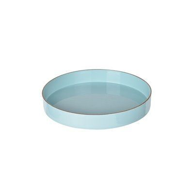 "Lark Manor Gold Rim Plastic Serving Tray Size: 1.6"" H x 10"" W x 10"" D, Color: Turquoise"