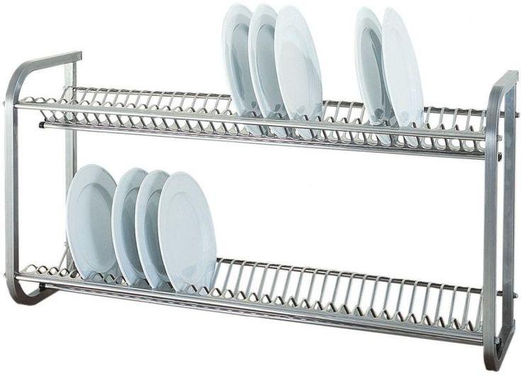 Este escurreplatos de pared es en acero y es práctico y modesto. Para la cocina.