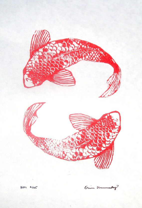 /: Originals Linocut, Originals Koi, Koi Fish, Koi Linocut, Linocut Fish, Recorded, Fish Design, Linocut Koi, Linocut Prints