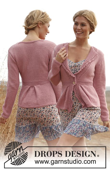 """Knitted DROPS fitted jacket with garter st, lace front bands and pleats in """"Paris"""". Size: S - XXXL.    from: http://www.garnstudio.com/lang/us/pattern.php?id=5470=us"""
