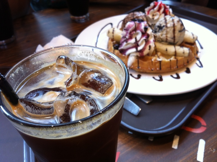 Waffles and a cup of coffee