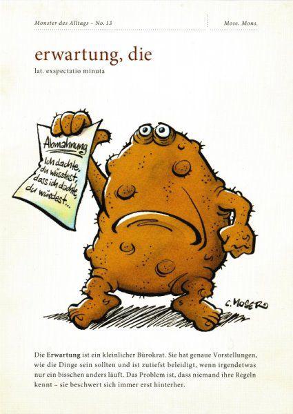 """Postkarte """"Monster des Alltags – No. 13: erwartung, die"""""""