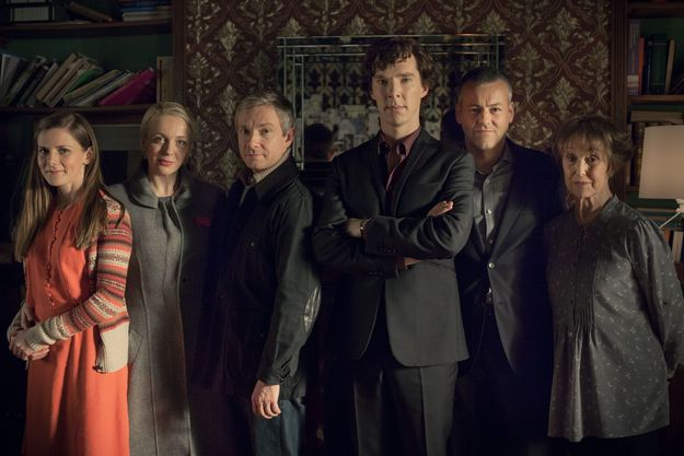 "Yes, the gang is all here, but who is this new person to the right of Molly? | The 30 Pictures From ""Sherlock"" You've Waited Nearly Two Years To See"