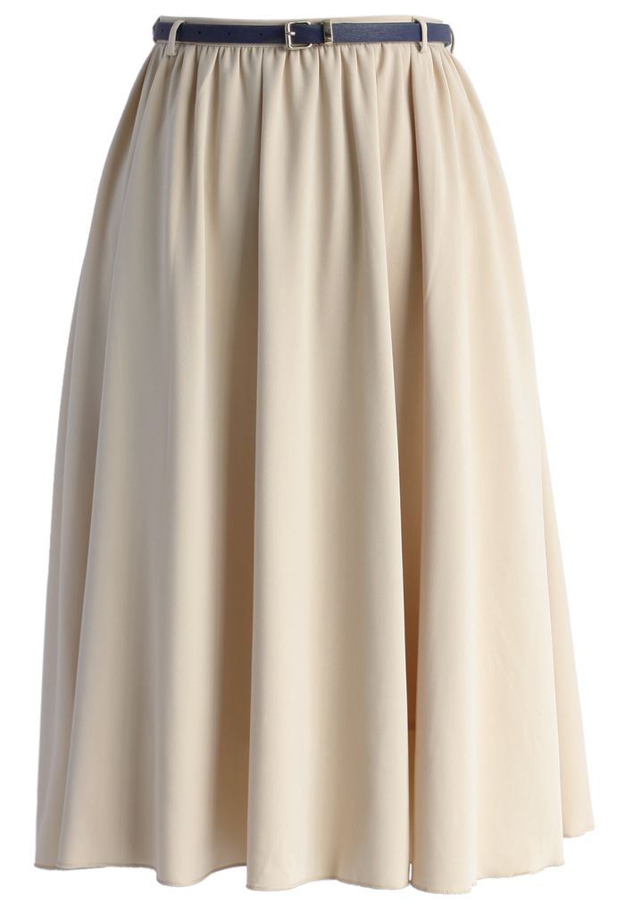 Belted Elegance Chiffon Midi Skirt in Beige - New Arrivals - Retro, Indie and Unique Fashion