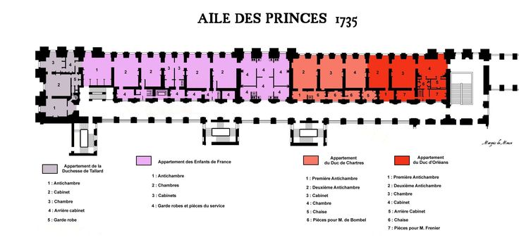The Aile des Princes in 1735, showing the distribution of apartments at the king's pleasure.