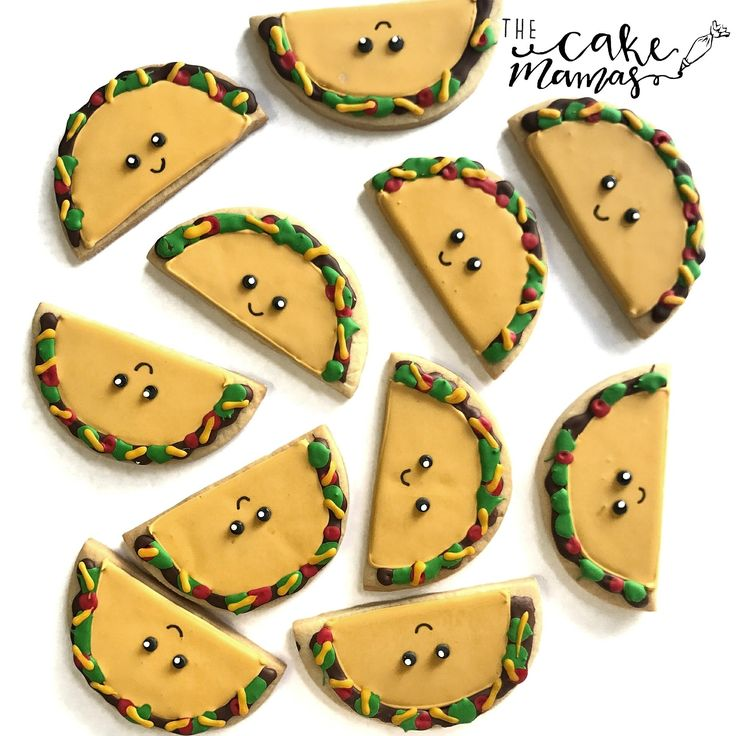 It's Taco Tuesday! Better get your margaritas ready! How cute are these taco themed cookies for National Taco Day! Call or email to book your custom cookies today! #taco #tacos #tacoday #tacotuesday #cookies #customcookies #baking